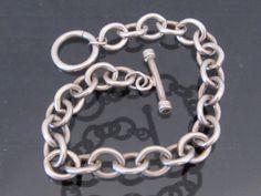 Vintage Sterling Silver Link Chain Bracelet by wandajewelry2013
