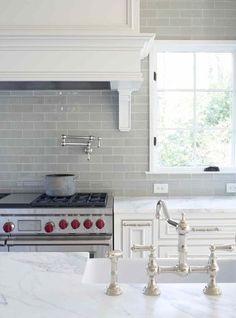 LOVE!! Smoke gray backsplash + white cabinets and carrera marble countertops!!!
