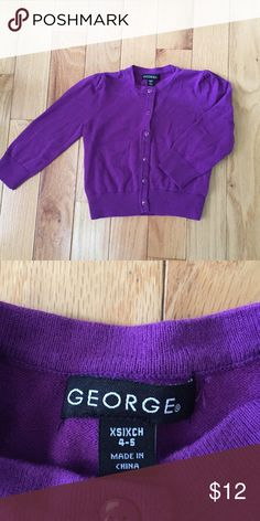 Cardigan in deep purple George XS (4-5)deep purple #cardigan it fit more like 3T for us.  Great year round layering #basic. EUC George Shirts & Tops Sweaters