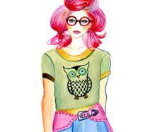 Items similar to Fashion Illustration - Miss Dsquared2 on Etsy