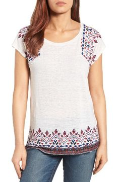 Free shipping and returns on Lucky Brand Embroidered Tee at Nordstrom.com. Colorful geometric embroidery adds global appeal to a cap-sleeve tee in a lightweight knit blended with cotton and linen.