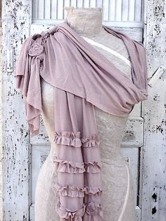 Light Pink Scarf Rustic Ruffles  Cotton Knit by CamillaCotton, $35.00