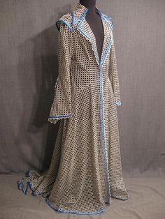 Womens 19th Century silver black lace blue satin Dressing Gown