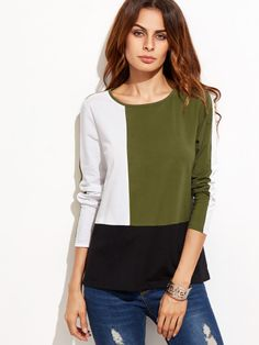 To find out about the Color Block Long Sleeve T-shirt at SHEIN, part of our latest T-Shirts ready to shop online today! White Long Sleeve, Long Sleeve Tops, Long Sleeve Shirts, Blouse And Skirt, Blouse Outfit, High Neck Kurti Design, White Cotton T Shirts, Budget Fashion, Blouse Styles
