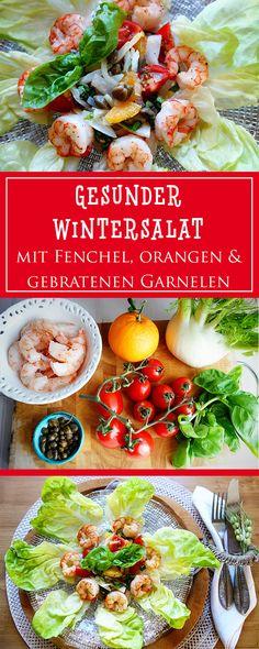 Wintersalat mit Orangen, Fenchel und gebratenen Garnelen - ein einfaches, gesundes Rezept aus bella Italia, das beeindruckend und unglaublich lecker ist! 🍊🍴🇮🇹| cucina-con-amore.de