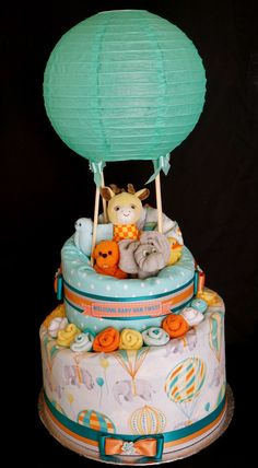 Gender Neutral Hot Hair Balloon Diaper Cake www.facebook.com/DiaperCakesbyDiana