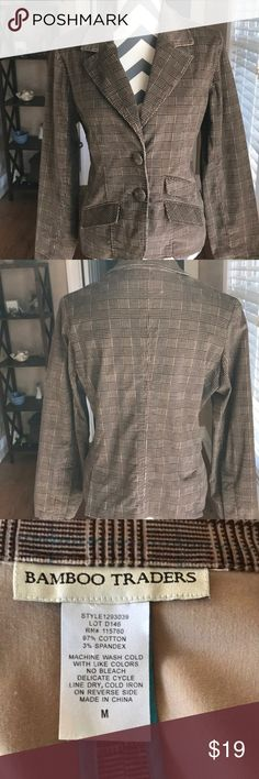 Bamboo Traders Blazer 97 percent cotton and three percent spandex. Brown blazer with some blue threads throughout. Size medium. Machine washable. Bamboo Traders Jackets & Coats Blazers