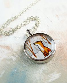 """""""Red Fox in the Snow """" Small Necklace Pendant by SarahLambertCook, $ 25.00"""