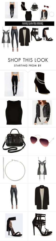 """""""Black Looks: Charlize Theron and La La Anthony Inspired"""" by themitchhilsociety on Polyvore featuring Missguided, Dolce Vita, River Island, Wet Seal, Merona, AQS by Aquaswiss, Ann Summers, Dorothy Perkins and Qupid"""