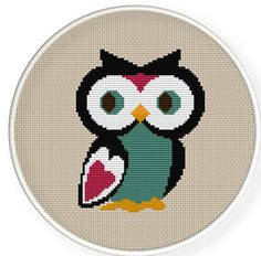 Buy 4 get 1 free ,Buy 6 get 2 free,Cross stitch pattern, PDF,owl,ZXXC0163. $4.50, via Etsy.