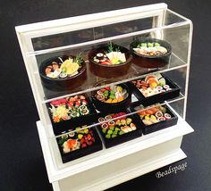 Dollhouse Miniature Japanese Food, Meal, Display Obento, Lunch Box, Sushi, Croquette, lunch, dinner, cute, kawaii, petite,dolls fake food