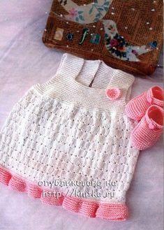 Белый сарафан и пинетки для малышки. Вязание спицами.