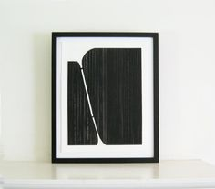 Etching Print framed painting, Geometric Art in Black and White wall decor  by ElviaPerrin