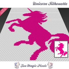 Unicorn Silhouette crochet blanket pattern; c2c, cross stitch; graph; pdf download; no written counts or row-by-row instructions by TwoMagicPixels, $3.99 USD