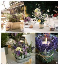 decoration mariage provence centre de table caisse en bois seau zinc lavande
