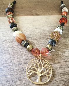 Golden Tree Necklace with Orange Autumn Beads by EssenceAndEarth