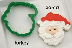 Decorated Santa Cookies  using turkey cutter by sweetsugarbelle.com tutorial