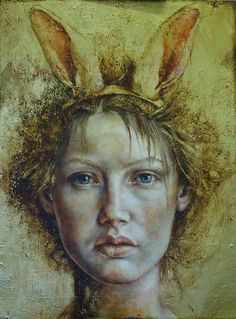 """The Players II"" - Pam Hawkes, oil, bee's wax and Dutch metal on board {contemporary figurative art female head woman face portrait mixed-media painting} pamhawkes.co.uk"