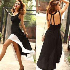 Womens Sexy Black and White High Low Maxi Dress Size Medium