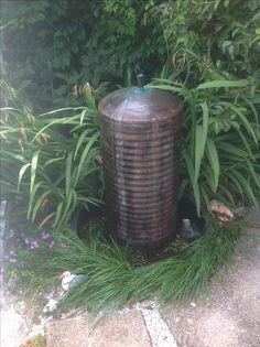 Copper cylinder solar water feature