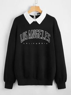 Girls Fashion Clothes, Teen Fashion Outfits, Edgy Outfits, Cute Casual Outfits, Sweat Shirt, Stylish Hoodies, Contrast Collar, Tomboy Fashion, Kawaii Clothes