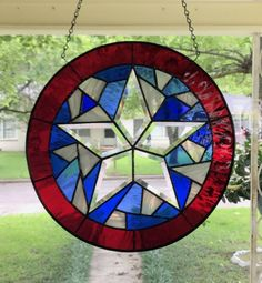 """Stained Glass Window Suncatcher in Stunning Colors """"Independance Day"""" Bevel Star Round by SuzanneEmerson on Etsy Stained Glass Art, Stained Glass Windows, Independance Day, Texas Star, Suncatchers, Art For Sale, Stars, Frame, Priority Mail"""