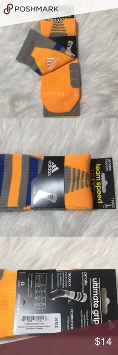 ADIDAS Team Speed Traxion Crew Socks Yellow New L ADIDAS Team Speed Traxion Crew Socks Yellow / Blue & Gray Stripes L New 9.5-12 Mens, 10/12 Women's   Climalite formation - right left specific. Traxion ultimate Grip. adidas Underwear & Socks Athletic Socks
