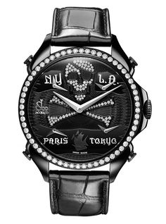 Jacob & Co.'s Palatial FTZ Timepiece with Black PVD dial with pirate design and diamonds Fine Jewelry, Engagement Rings, Watches, Clocks, Accessories, Collection, Black Diamonds, Women, Design