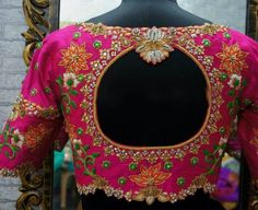 blouse designs latest Pure raw silk blouse with fantastic all over zardosi embroidery. -Measurements sheet will be sent to you once you order( Standard sizing also Hand Work Blouse Design, Silk Saree Blouse Designs, Stylish Blouse Design, Fancy Blouse Designs, Bridal Blouse Designs, Blouse Neck Designs, Blouse Patterns, Indian Blouse Designs, Skirt Patterns