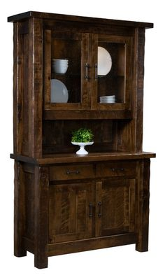 Amish Houston Hutch Ideal for storage. Attractive rustic look. Solid wood construction. #hutches