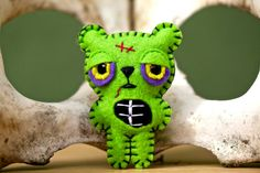 Felt Zombie Bear Pocket Plush Toy by nuffnufftoys on Etsy, $13.00