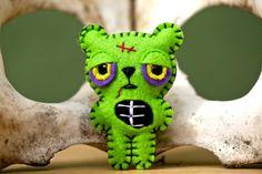 Felt Zombie Bear  Pocket Plush Toy by nuffnufftoys on Etsy, $13.00