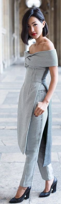 Black And White Gingham Sophisticated Taylor Off Shoulder Suit #Fashionistas
