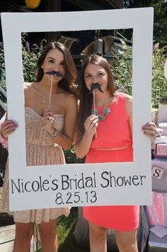 Photo booth idea for fun bridal shower entertainment. See more fun bridal shower games and party ideas at http://www.one-stop-party-ideas.com