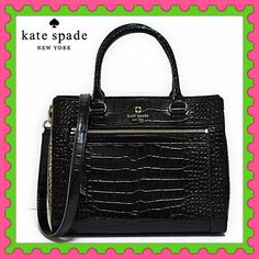 """♠️Authentic Kate Spade Black Leather Handbag♠️ % AUTHENTIC ✨ Don't miss this GORGEOUS & CLASSY black crocodile embossed leather handbag from Kate Spade! Very versatile✨ Shoulder & handheld bag Length: 12"""" Height: 9 1/2"""" Width: 5 1/2"""" with detachable long strap Beautiful interior with 4 compartments Front outside pocket Yellow gold tone hardware  NO TRADE  kate spade Bags Satchels"""