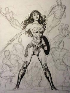 Wonder Woman Drawing, Wonder Woman Art, Wonder Woman Comic, Wonder Women, Dc Comics Art, Comics Girls, Univers Dc, Woman Sketch, Comic Styles