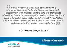 A testimonial praising services at AHI. #AsianHeartInstitute #AHITestimonials