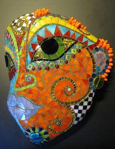 "Stone Mask ""Coral"" by Herzstücke Mosaic Masks, via Flickr"