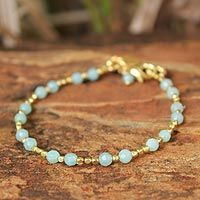 Gold plated beaded bracelet, 'Aqua Divine Deva' by NOVICA.  I think I'll make this for myself with silver beads instead of gold plate