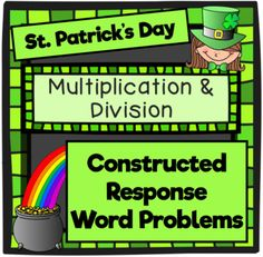 Happy St. Patrick's Day! It's your LUCKY day! Enjoy this FREEBIE celebrating St. Patrick's Day with Math Constructed Response!Included in this set: 10 Constructed Response Questions (1 per page) 1 Extended (4 Part) Response Questions (1 per page)  Answer Key for use by teacher or by students Answer Sheet for student or teacher use~~~~~~~~~~~~~~~~~~~~~~~~~~~~~~~~~~~~~~~~~~~~~~~~~~~~~~~~~~Click below to check out my Common Core Math Word Problems!*3rd Grade*3rd Grade Operations/Algebraic…