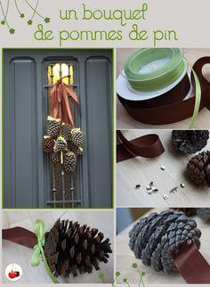 Decoration de porte avec des pommes de pin