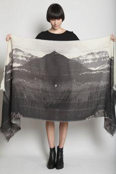 mahhhvelousscaaarvelis:  Mountain Print Scarf, Faded Black Multi by U-NI-TY