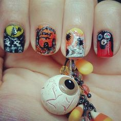 Halloween Nails by TenTinyCanvases - Nail Art Gallery nailartgallery.nailsmag.com by Nails Magazine www.nailsmag.com #nailart