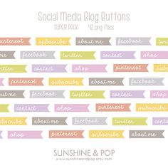 INSTANT DOWNLOAD - Blog Buttons: 49 colorful Social Media Blog Buttons for wordpress, blogger, and more. $4.99, via Etsy.
