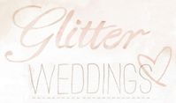 Glitter Weddings - my new fave. love the watercolor and fb/pinterest icons, hearts over the menu