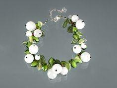 Mistletoe Bracelet, Snowberry Bracelet w glass white berries, lampwork glass beads, lobster clasp, adjustable length art glass bracelet