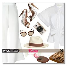 """""""Pack and go: Cuba"""" by oliverab ❤ liked on Polyvore featuring E L L E R Y, Delpozo, Miu Miu, Urban Outfitters, Sensi Studio, Ray-Ban, Packandgo and cuba"""