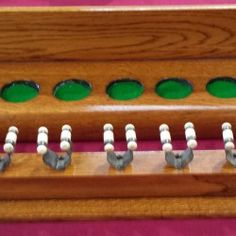 French polished Antique 9 clip snooker cue rack, oak.B559. | Browns Antiques Billiards and Interiors.