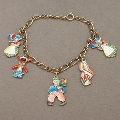 Holland Charm Bracelet Vintage 12k Gold Filled Enamel