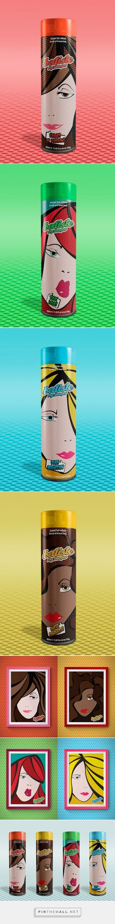 """Batiste Dry Shampoo on Behance by Felipe Mesquita curated by Packaging Diva PD. Label packaging fragrances are inspired in Pop Art for this brand """"Batiste"""". Developed for lessons of Miami Ad School."""